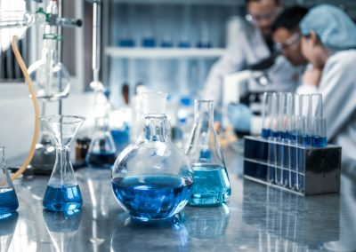 Health care researchers working in life science laboratory
